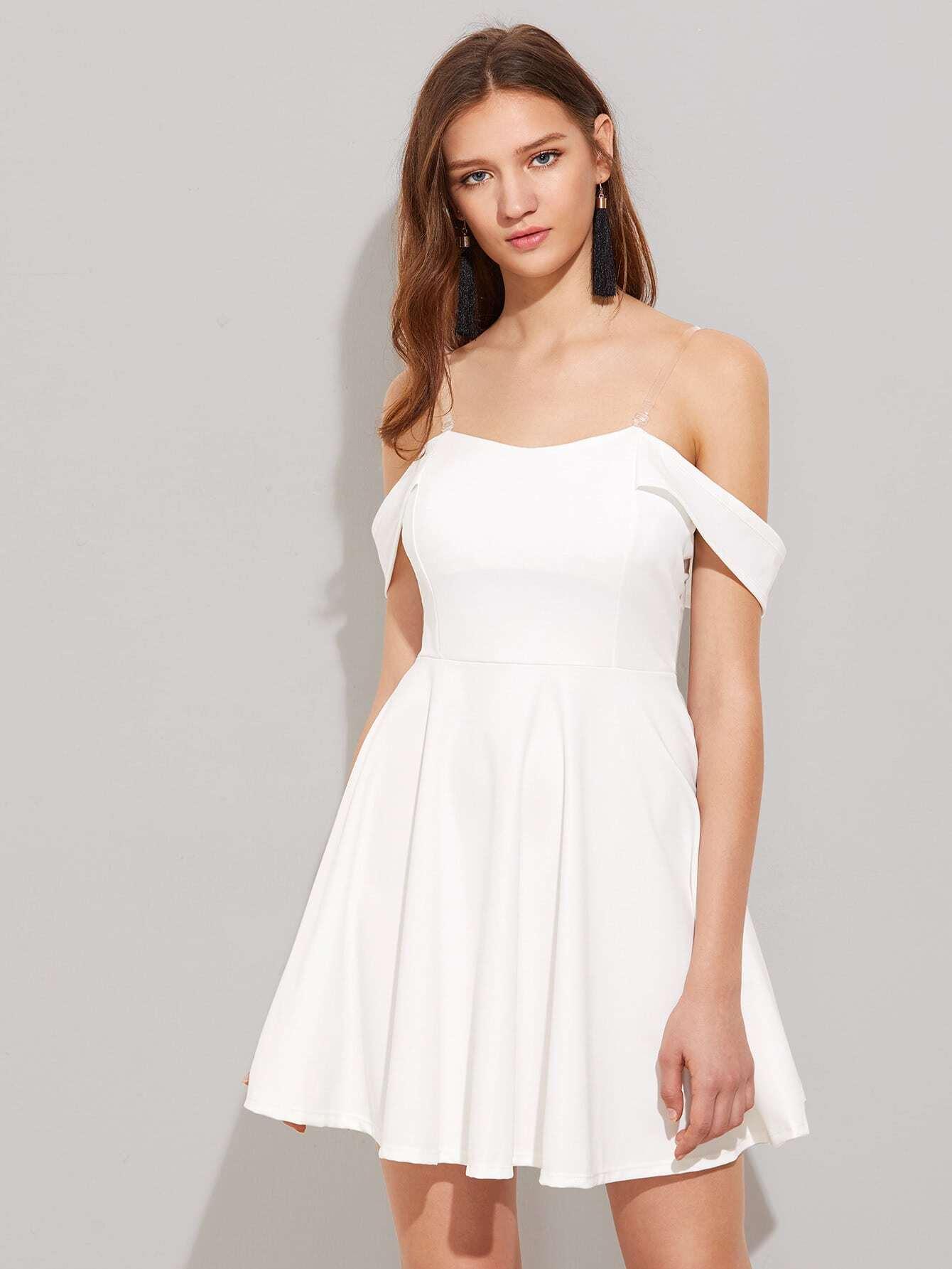 Фото Off Shoulder Swing Dress With Removable Straps. Купить с доставкой
