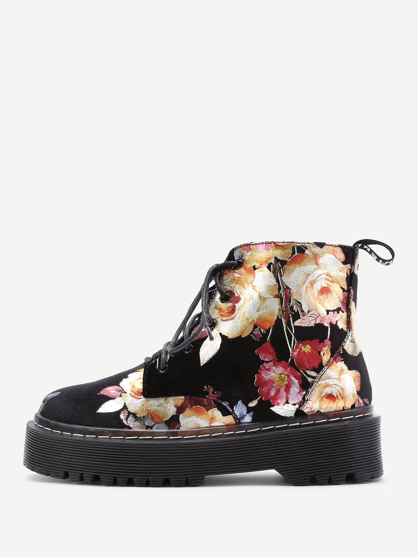 Calico Print Velvet Lace Up Ankle Boots