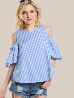 Gingham Print Cold SHoulder Shirt BLUE