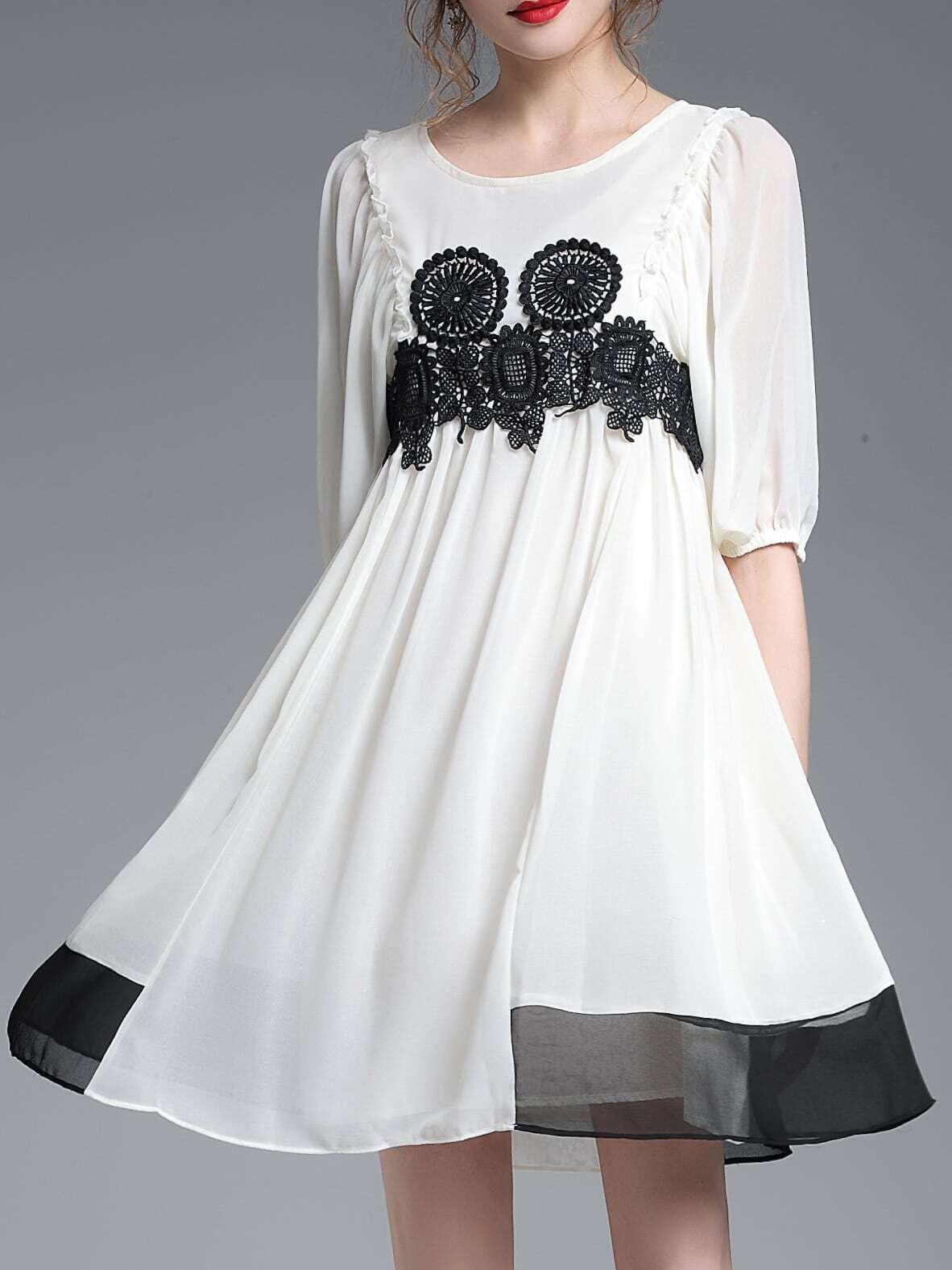 Фото Color Block Flounce Contrast Crochet Dress. Купить с доставкой