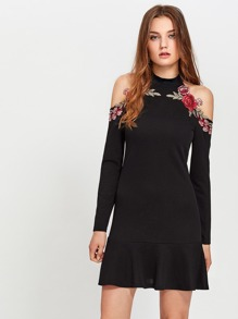 Embroidered Rose Patch Open Shoulder Frill Hem Dress