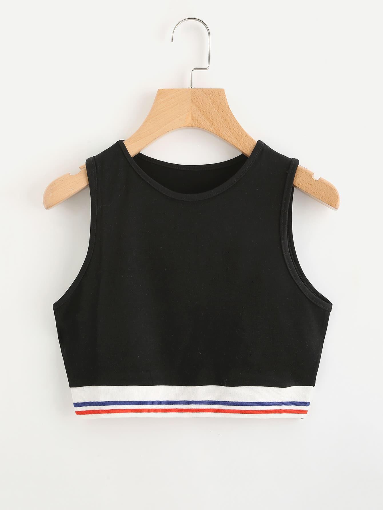 Contrast Striped Hem Crop Tank Top black choker sleeveless crop top