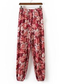 Elastic Waist Floral Print Pants