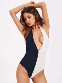 Two Tone Plunging Halter Bodysuit
