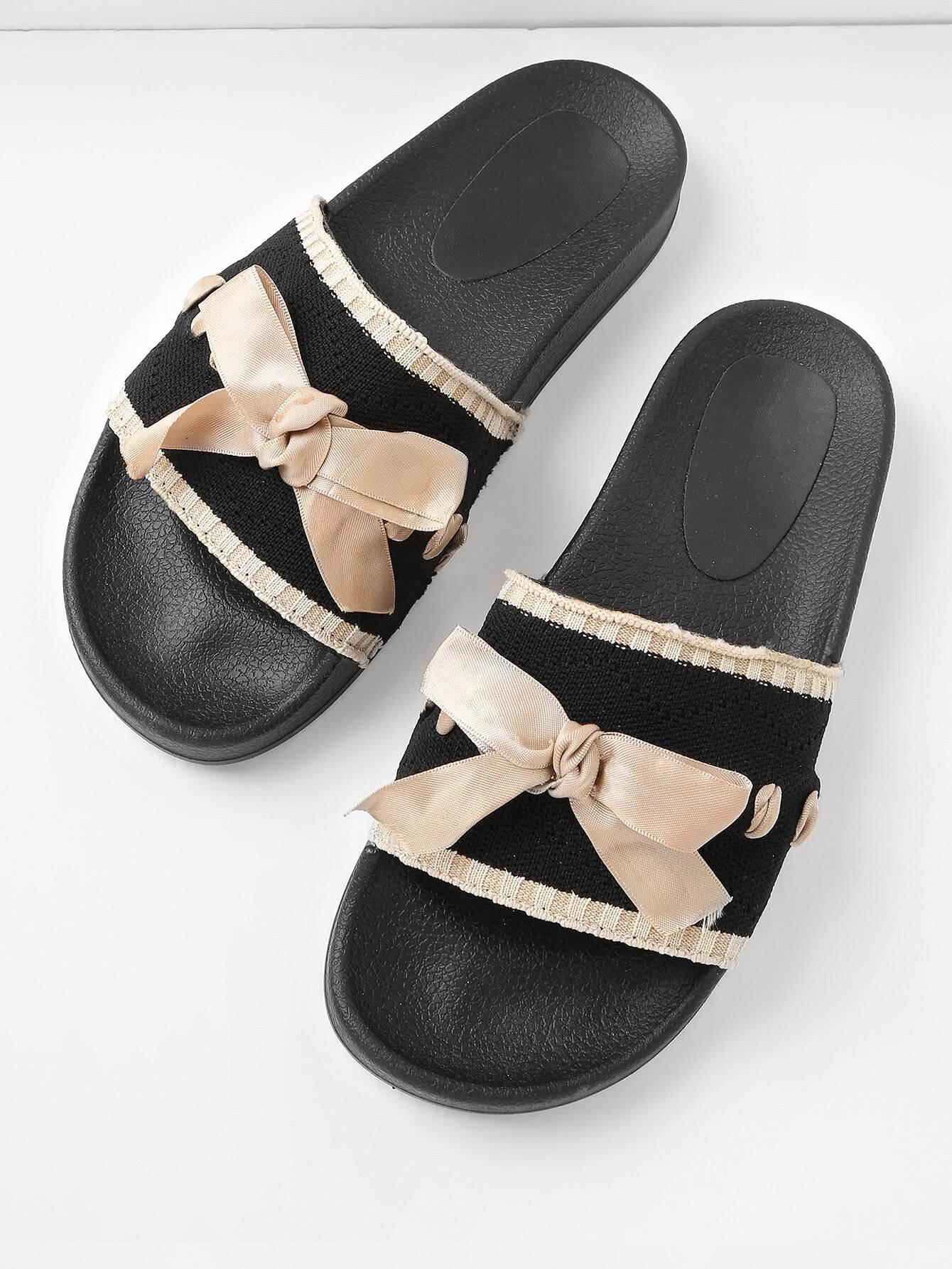 Фото Bow Tie Detail Knit Slip On Sandals. Купить с доставкой