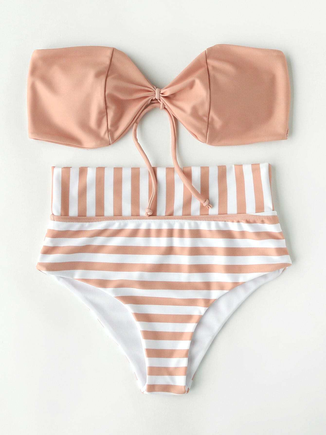 Фото Striped Print Bandeau Bikini Set. Купить с доставкой