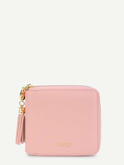 Tassel Decorated Zip Around PU Purse