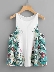 Tropical Print Split Overlap Back Tank Top