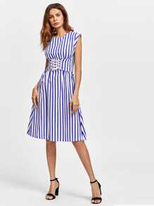 Contrast Vertical Striped Corset Dress