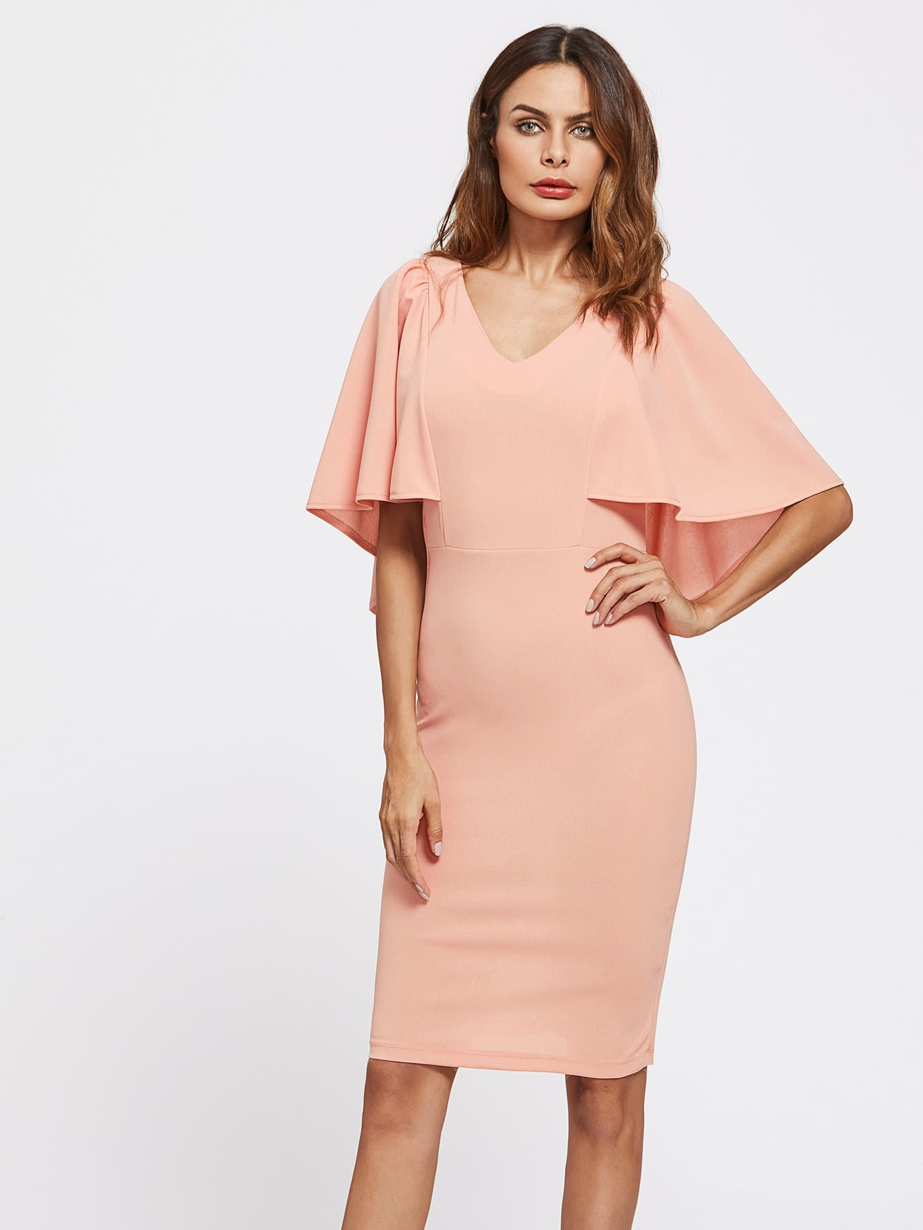 Фото Form Fitting Cape Sleeve Dress. Купить с доставкой