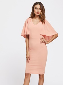Form Fitting Cape Sleeve Dress