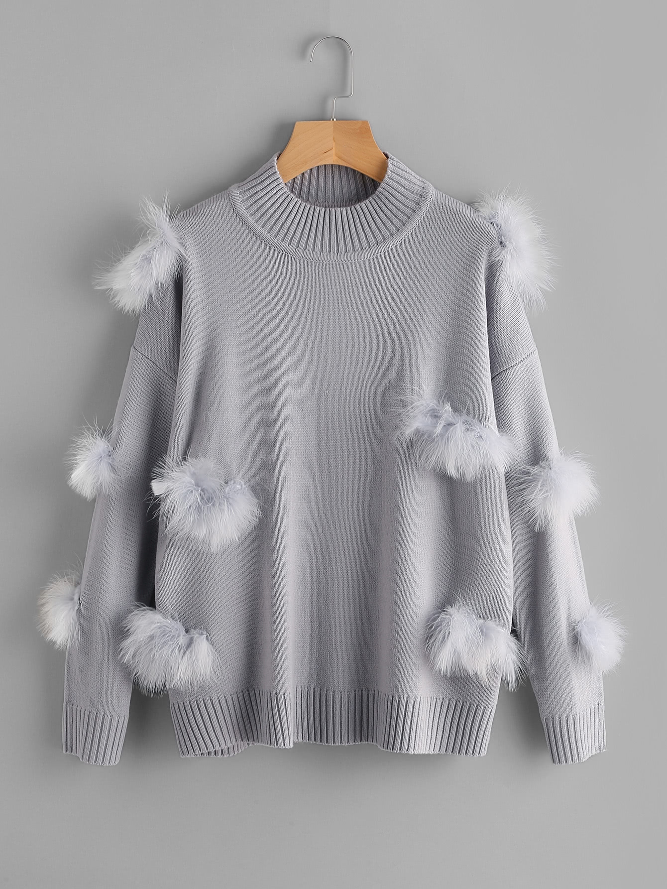 Ribbed Trim Faux Fur Ball Applique Jumper pearl beading faux fur pocket ribbed dress