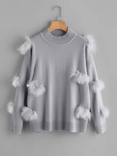 Ribbed Trim Faux Fur Ball Applique Jumper
