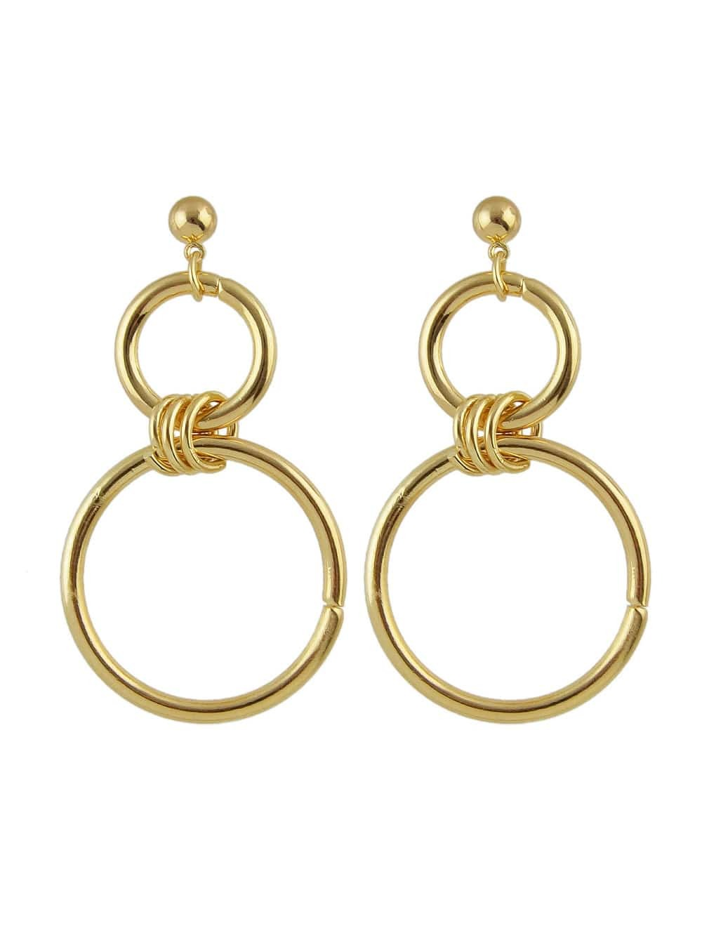 Trendy Gold Color Big Round Circle Dangle Earrings