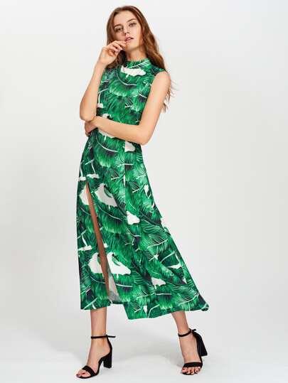 Vestido estampado hojas