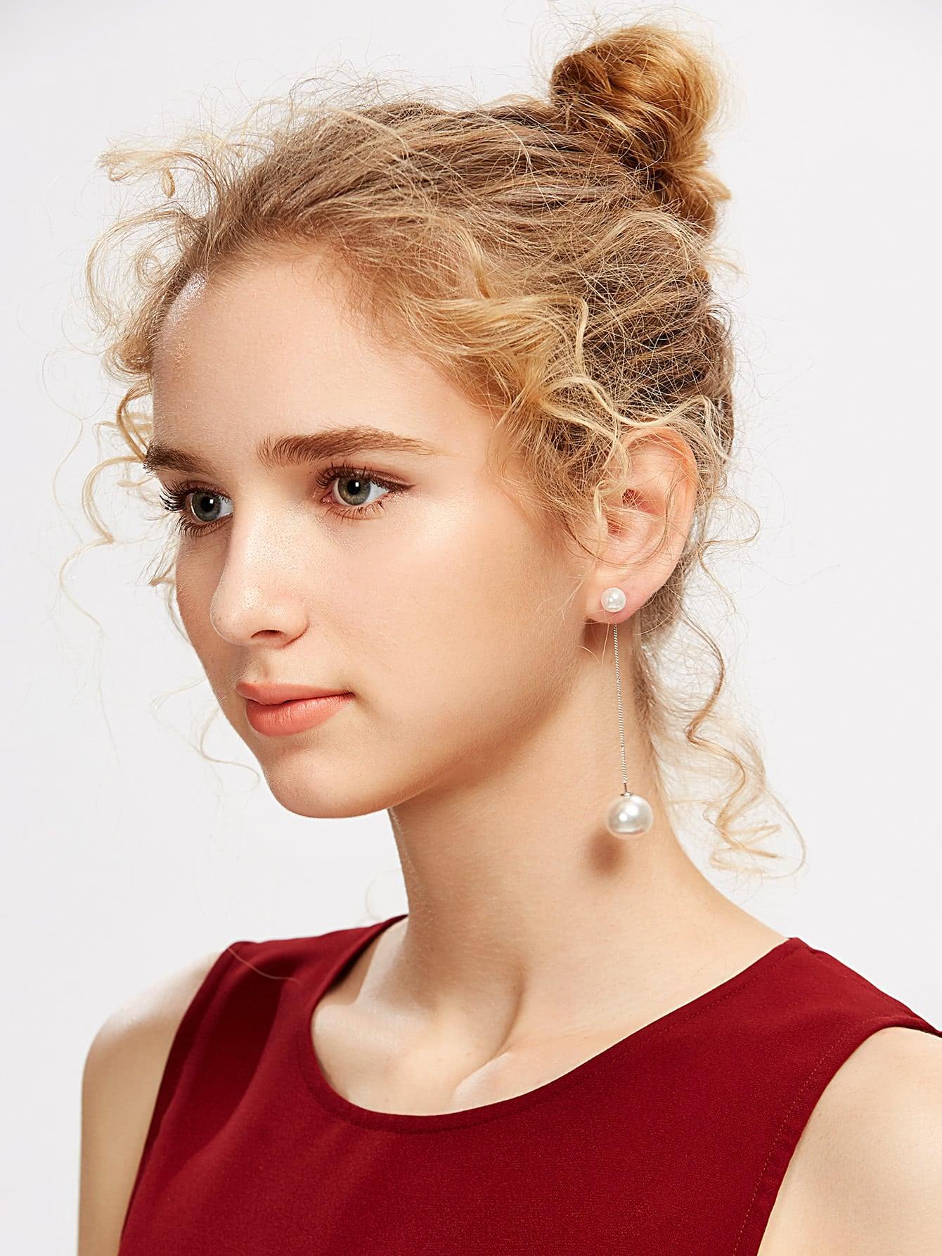 Фото Faux Pearl Embellished Drop Earrings. Купить с доставкой