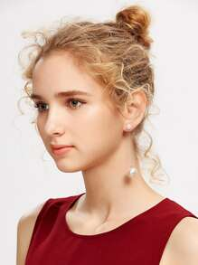 Faux Pearl Embellished Drop Earrings