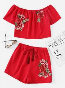 Bardot Embroidered Appliques Top With Tassel Tie Shorts