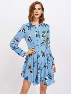Mixed Print Fit & Flare Shirt Dress
