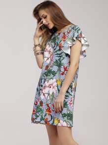 Jungle Print Striped Butterfly Sleeve Dress