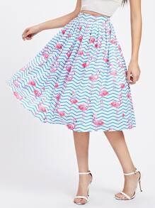 Allover Flamingo Print Umbrella Skirt
