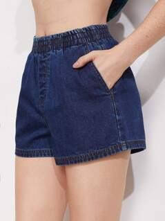 Shirred Waist Faux Fly Denim Shorts