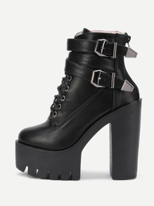 Buckle Decorated Lace Up PU Platform Boots