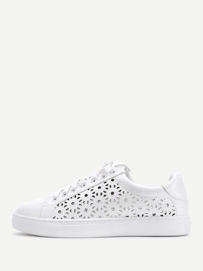 Laser Cut Lace Up PU Sneakers