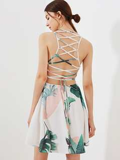 Lace Up Back Tropical Dress