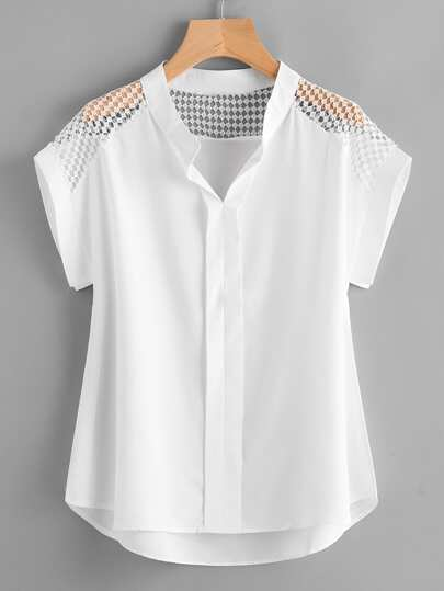 Hollow Out Lace Panel Dip Hem Blouse