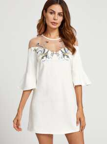 Mesh Shoulder Bell Sleeve Embroidered Dress