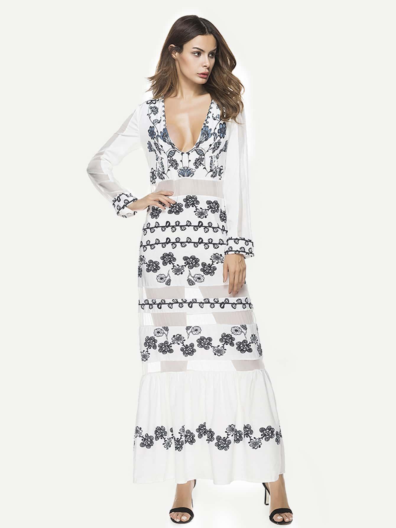 Фото Plunging Mesh Panel Frill Hem Florals Dress. Купить с доставкой