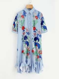 Botanical Print Godet Hem Dress