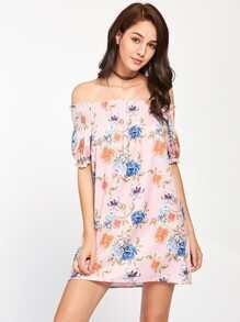 Shirred Bardot Frill Trim Florals Dress