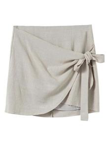 Overlap Front Knot Detail Skirt
