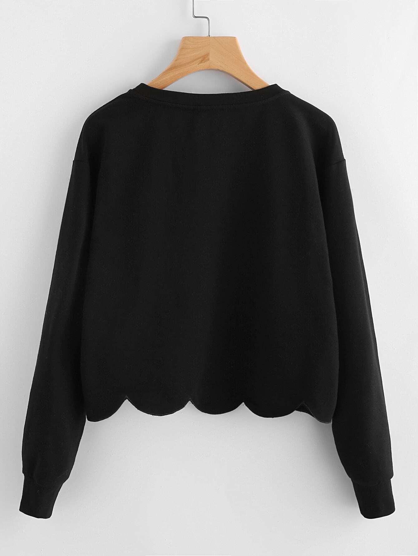Drop Shoulder Scallop Hem Sweatshirt