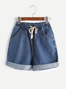 Drawstring Waist Roll Hem Ripped Pocket Shorts