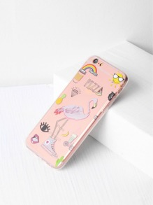 Cute Flamingo Print Clear iPhone Case
