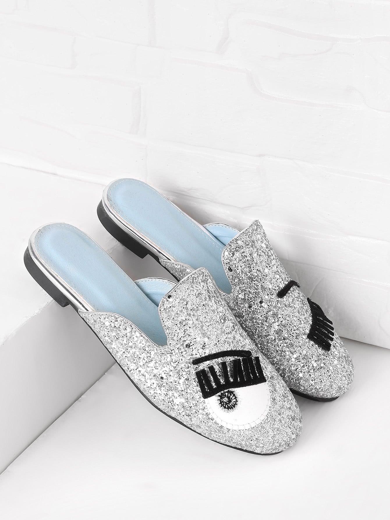 Eyelash Pattern Glitter Flat Mules shoes170704806