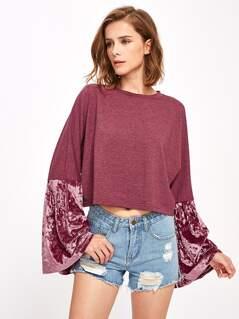 Velvet Bell Sleeve Mixed Media Sweatshirt