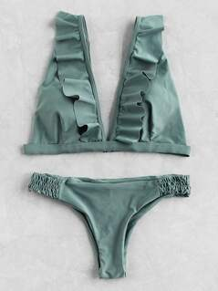 Frill Plunge Neckline Elastic Waist Bikini Set
