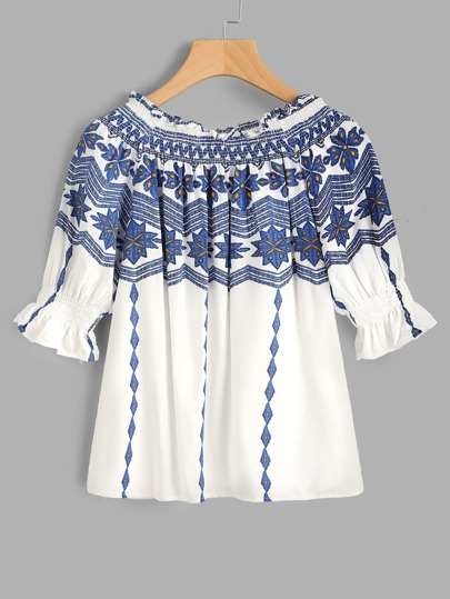Boat Neckline Shirred Geo Printed Top