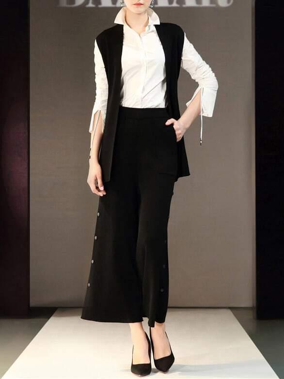 Фото Deep V Neck Knit Vest Top With Pants. Купить с доставкой