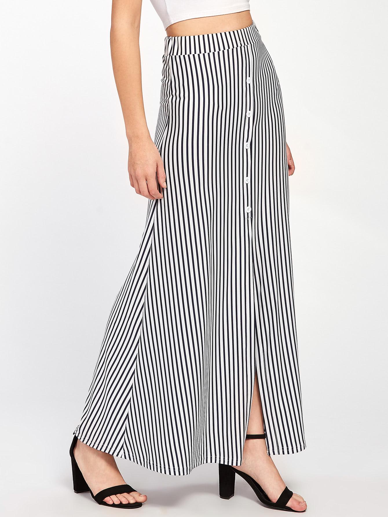 Vertical Striped Button Front Skirt