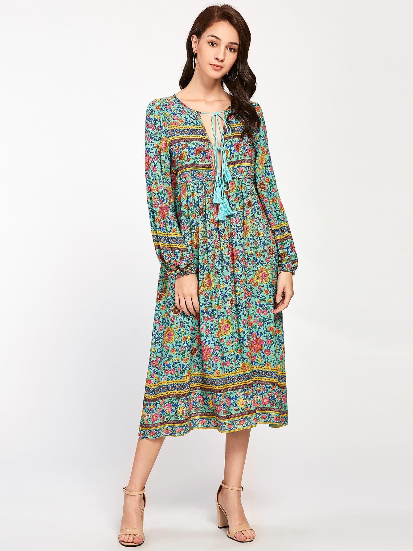 Lace Up V Neck Boho Dress With Tassel Shein Sheinside
