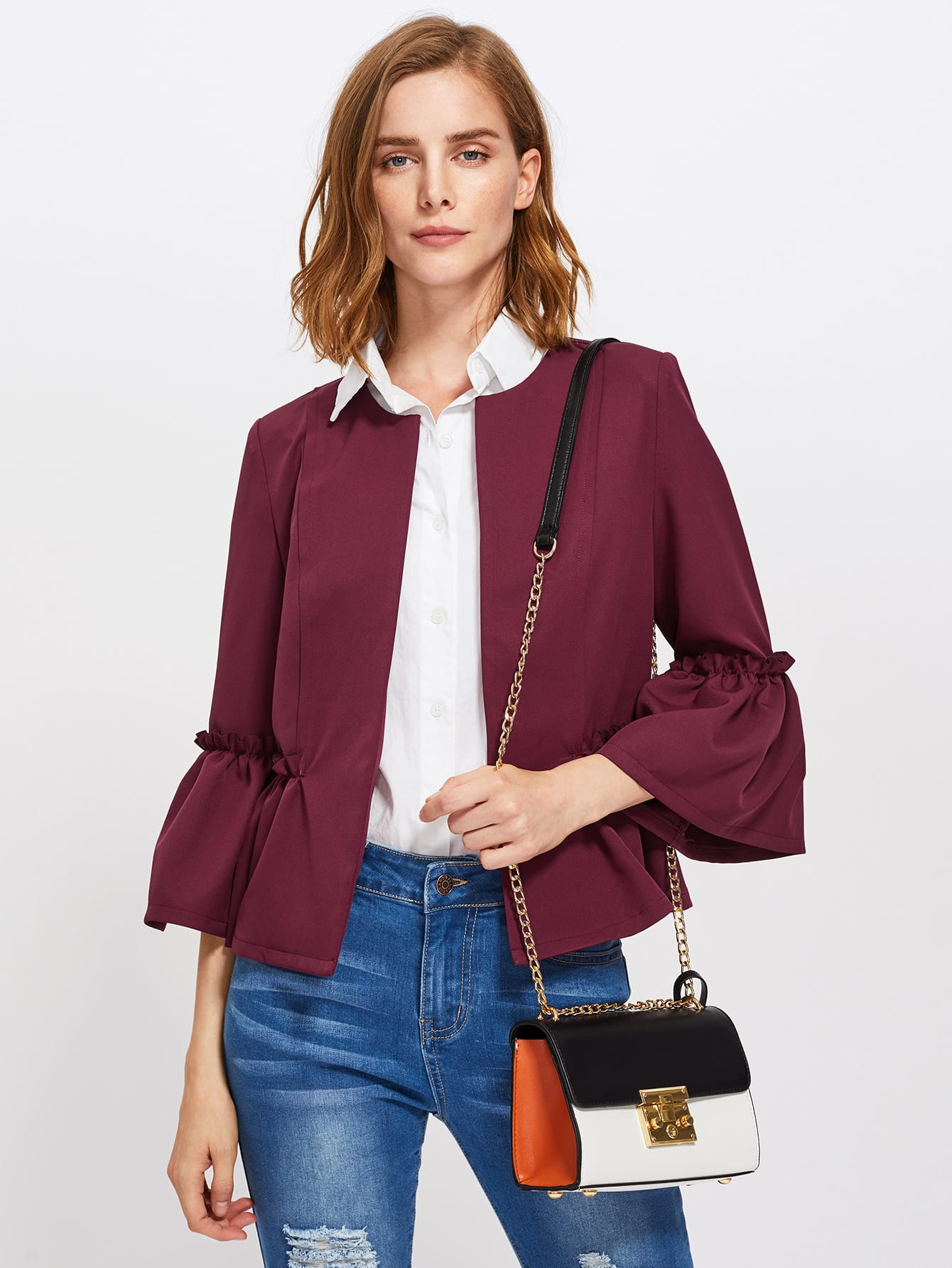 Купить со скидкой Frilled Bell Sleeve And Hem Open Front Blazer