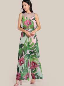 Mesh Sweetheart Pleated Tropical Top And Palazzo Pants Set
