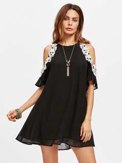 Lace Applique Open Shoulder Swing Dress