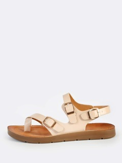 Toe Ring Buckle Wrap Sandals BEIGE
