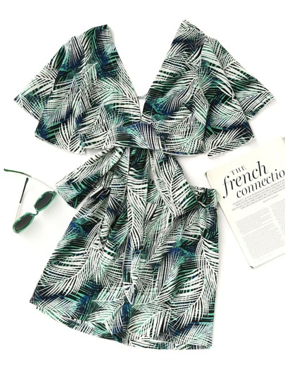 Plunging V-neckline Leaf Print Bow Tie Back Crop Top With Shorts